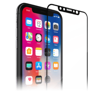 Beskyttelses glas og en iPhone X i Space Grey